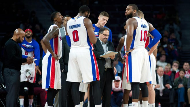 Dec 9, 2014; Detroit Pistons head coach Stan Van Gundy talks to his team during the third quarter against the Portland Trail Blazers at The Palace of Auburn Hills.
