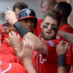 Bryce Harper has been exchanging celebrations often this season as he is among the leaders in most offensive categories in baseball.