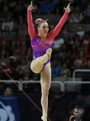 MyKayla Skinner scored 14.800 on floor exercise Friday at the U.S.  Women's Gymnastics Trials in San Jose.