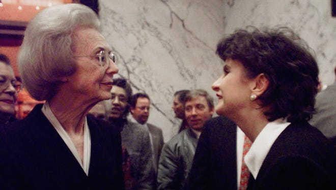 Former Mississippi Lt. Gov. Evelyn Gandy, left, is greeted by new Lt. Gov. Amy Tuck during a reception in Jackson, Miss., on Jan. 6, 2000. Tuck was the second woman after Gandy to hold a major state office in Mississippi during modern times, but could not run for a third term in 2007, because of term limits.