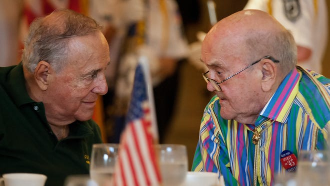 World War II veterans Tony Gentuso, left, and Ray Carlson were among those at the Lee County annual Spirit of '45 ceremony.