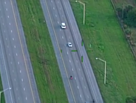 A screen grab of the video taken by a sheriff's helicopter