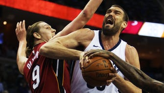December 11, 2017 - Memphis Grizzlies center Marc Gasol (33) attempts a basket against Miami Heat forward Kelly Olynyk (9) during the first half of action at FedExForum on Monday.
