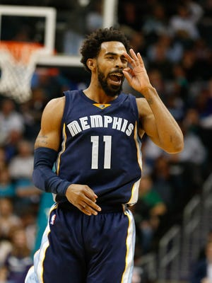 Nov 21, 2016; Charlotte, NC, USA; Memphis Grizzlies guard Mike Conley (11) reacts to hitting a three point shot in the first half against the Charlotte Hornets at Spectrum Center. Mandatory Credit: Jeremy Brevard-USA TODAY Sports