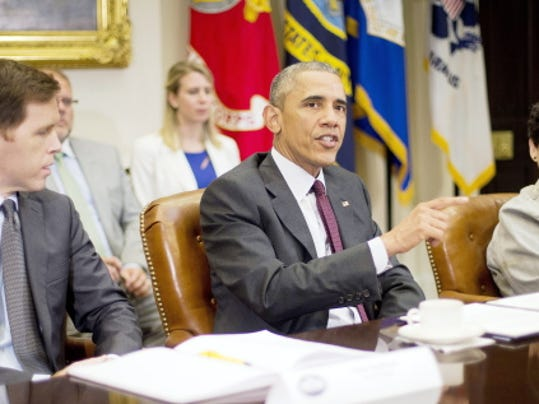 President Barack Obama, center, speaks Wednesday at the White House during a meeting with small business owners to discuss the importance of the reauthorization of the Export-Import Bank.