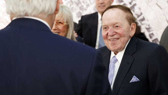 In this May 23, 2017, file photo, Sheldon Adelson, right, talks with Secretary of State, Rex Tillerson, before a speech by President Trump at the Israel Museum in Jerusalem.