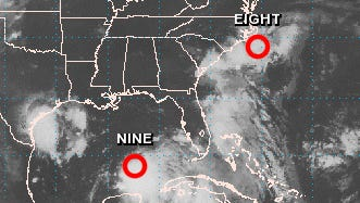 Tropical depressions are menacing both the East and Gulf Coasts of the U.S.