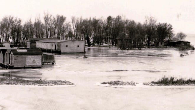 "This photo from the collection of late historian Langdon Divers shows boathouses at Lakeside Park in the winter of 1922. Historian Tracy Reinhardt will present ""Lakeside Park: A Fond du Lac Treasure,"" at 2 and repeated at 6 p.m. Thursday, Feb. 15, at the Fond du Lac Public Library. The programs are free; no registration required."