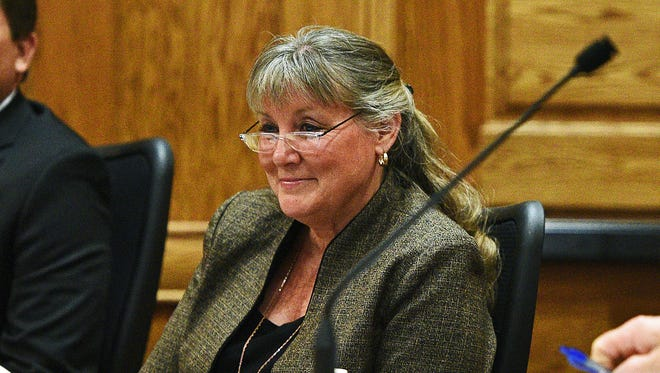 Theresa Stehly is shown at a city council meeting at Carnegie Town Hall in downtown Sioux Falls.