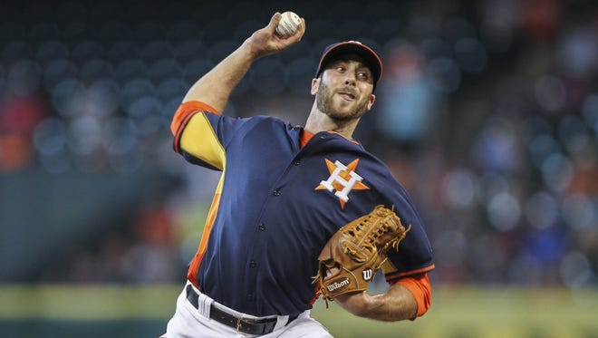 Houston Astros relief pitcher Anthony Bass  pitches during the third inning against the Boston Red Sox at Minute Maid Park.