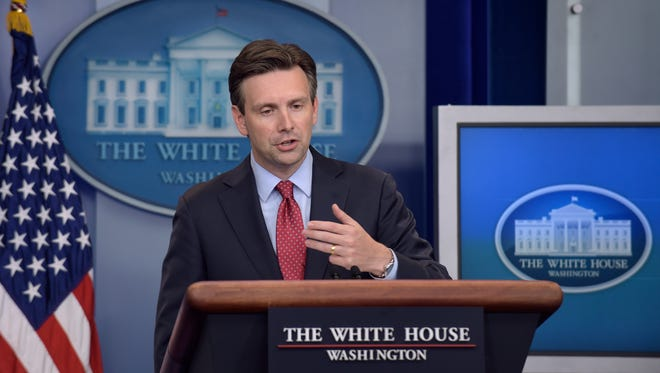 White House Press Secretary Josh Earnest speaks during the daily briefing at the White House in Washington Monday.
