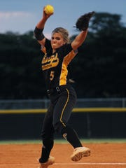 Bishop Verot's Erin Kyle delivers a pitch while competing