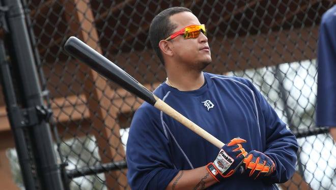 Tigers' Miguel Cabrera gets ready to bat, during Detroit Tigers spring training at Joker Marchant Stadium in Lakeland, Fla. on Tuesday, Feb. 23, 2016.