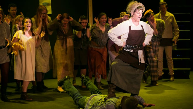 """Tracy Webber plays Penelope Pennywise in """"Urinetown: the Musical"""" at Pentacle Theatre. In this number, """"It's a Privilege to Pee,"""" Pennywise reminds the poor masses that she is the gatekeeper to the public toilet citizens are required by law to use. The show runs through May 7."""