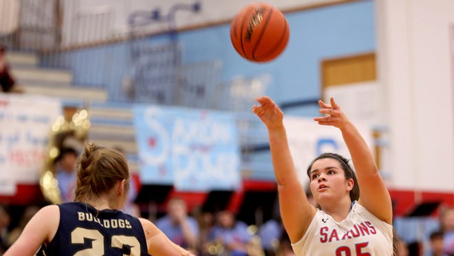 South Salem's Alexia Hicks (25) shoots the ball in the first half of the West Albany vs. South Salem girl's basketball game at South Salem High School on Friday, Jan. 20, 2017. South Salem won the game 75-41.