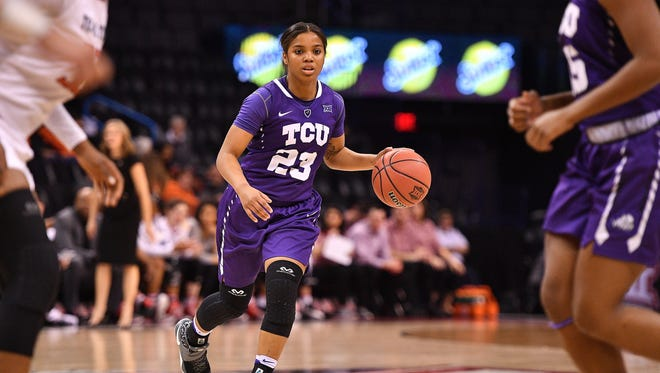 Guard AJ Alix brings the ball up the court during TCU's game against Texas Tech at the Chesapeake Energy Arena in Oklahoma City, Oklahoma on March 3.