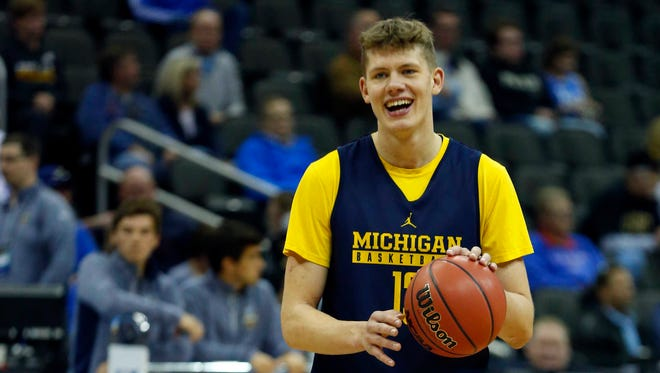 Michigan forward Moritz Wagner during practice at the 2017 NCAA tournament.