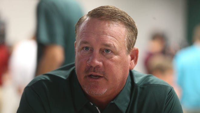 Michigan State defensive ends coach and special teams coordinator Mark Snyder talks with reporters Monday, August 7, 2017 at Spartan Stadium in East Lansing.
