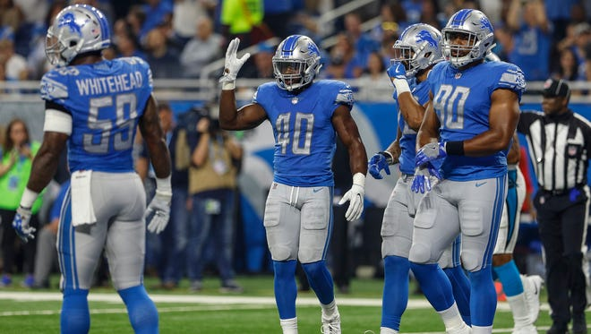 Lions' Jarrad Davis (40) in the first half of the Lions' 27-24 loss to the Carolina Panthers at Ford Field on Sunday, Oct. 8, 2017.