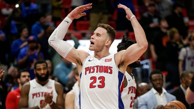 Blake Griffin cheers the crowd during the second half against the Memphis Grizzlies at Little Caesars Arena on Thursday.