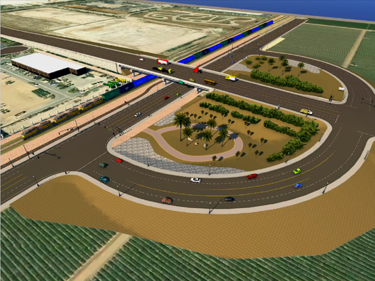 Designers created a conceptual image of a long-planned Rice Avenue bridge in Oxnard that is in limbo because of a lack of funds. It would cost up to $80 million to build the bridge, which officials say would have prevented a deadly collision between a Metrolink commuter train and a truck abandoned on the tracks on Feb. 24, 2015.