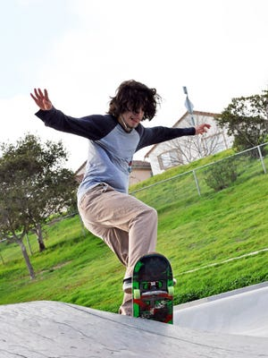 Adrian Cornejo, 18, on his board at Natividad Creek Park.