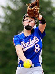 Spring Grove's Hailey Kessinger, seen here in a file photo, threw a complete-game four-hitter on Monday in the Rockets' 4-1 win over Dallastown. She struck out four without a walk.