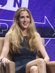 "In this Oct. 20, 2018 file photo, Ann Coulter participates in the ""AAA: Ask Ann Anything"" panel at Politicon at the Los Angeles Convention Center. President Donald Trump defended himself Saturday from a conservative backlash that he himself unleashed when he ended the 35-day-old partial government shutdown without money for his promised border wall. Coulter, a big supporter of a barrier on the southern border, called Trump the ""biggest wimp"" ever to occupy the Oval Office."