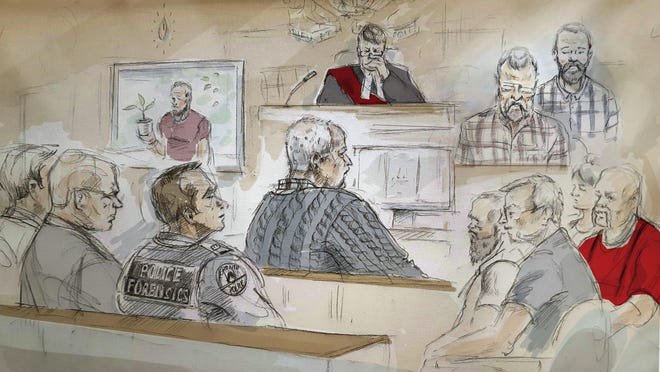 In this artist's sketch, serial killer Bruce McArthur, center, attends his sentencing hearing in Toronto on Monday, Feb. 4, 2019. McArthur staged photos of some of his victims after they died, posing corpses in fur coats and cigars in their mouths, a prosecutor said Monday as the sentencing hearing began for the former gardener who preyed on men from Toronto's Gay Village district.
