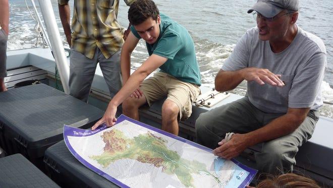 Riverkeeper's boat Capt. John Lipscomb explains his patrol and water-sampling routine on the Hudson River.