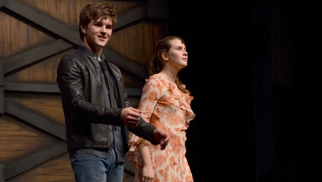 """Benjamin Tyrrell stars as """"Ren"""" and Sophia Handley plays """"Ethel"""" in a rehearsal for """" Footloose,""""  at Angelle Hall."""