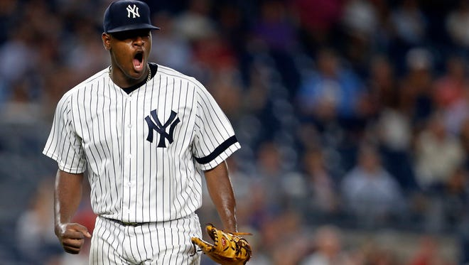 Sep 27, 2017; Bronx, NY, USA; New York Yankees starting pitcher Luis Severino (40) reacts after the final out of the fourth inning against the Tampa Bay Rays at Yankee Stadium.
