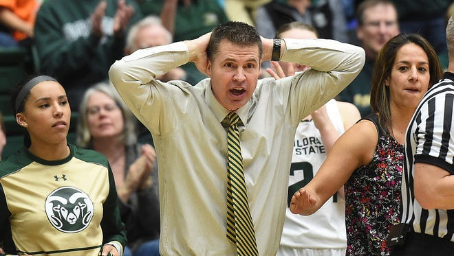 The Colorado State women's head coach Ryun Williams reacts to a call in a basketball game against the Boise State Broncos at Moby Arena on Saturday.