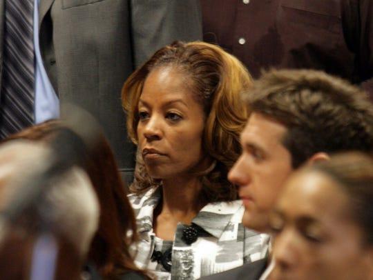Carlita Kilpatrick looks on in court in Detroit in