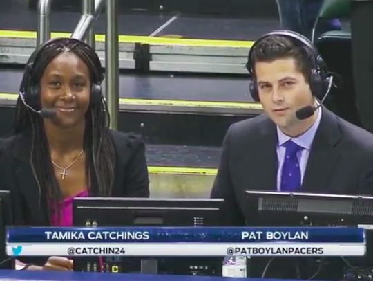 Pat Boylan and Tamika Catchings broadcast during a