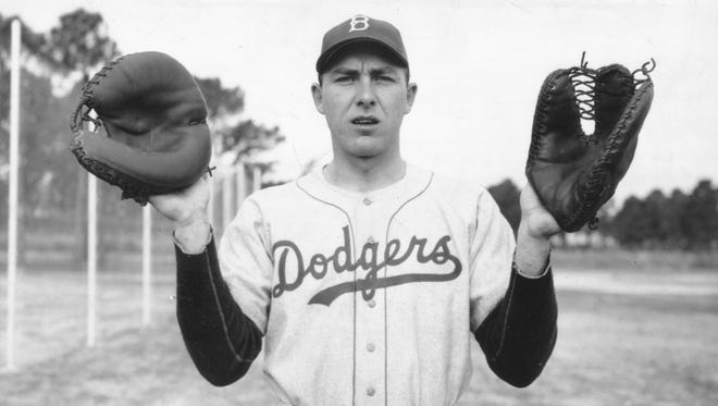 Gil Hodges, shown in a May 1949 photo, was an Indiana native who played professional baseball for the Brooklyn Dodgers and later managed the New York Mets in the late '60s. When he retired in 1963 he was the National League's career leader in home runs by a right-handed batter: 370.