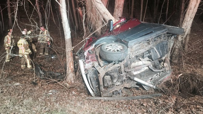 The 2005 Buick Rendezvous operated by 37-year-old Israel Albarracin of Danbury, Conn., after the crash that took his life Tuesday night, April 14, 2015.