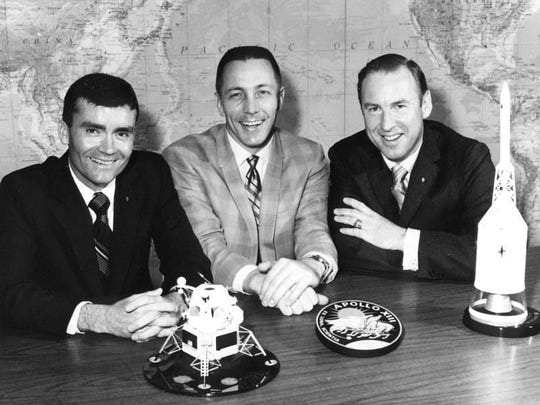 Apollo 13 astronauts Fred W. Haise, John L. Swigert and James A. Lovell.