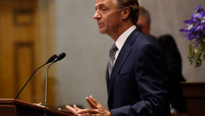 Gov. Bill Haslam delivers his annual State of the State speech at the Tennessee state Capitol in Nashville on Monday, Jan. 30, 2017.
