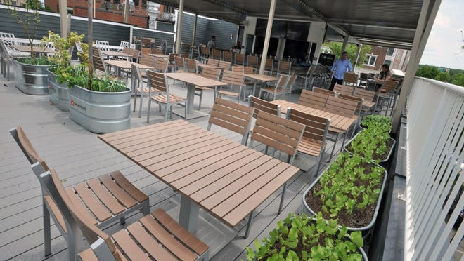 The roof deck dining area is ready to go at Alba restaurant in Quincy Center, Wednesday, June 3, 2020. Tom Gorman/For The Patriot Ledger