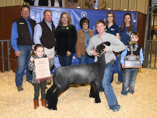 James Cochran representing Christoval FFA earned grand champion lamb during the 2018 Tom Green Junior Livestock Show on Jan. 12-13. Buyers: Bruton Trailer; Bank of San Angelo;  Twin Mountain Fence, Raymond Meza; First State Bank of Paint Rock; Sonora Bank, Bob Pfluger; Texas Trust Credit Union, Brett Nikolauk; Texas Water & Soil Co; 1st Community Federal Credit Union, Vicki Loso; Palmer Feed & Supply, Cisco Equipment; West Texas Steel, Paul English.