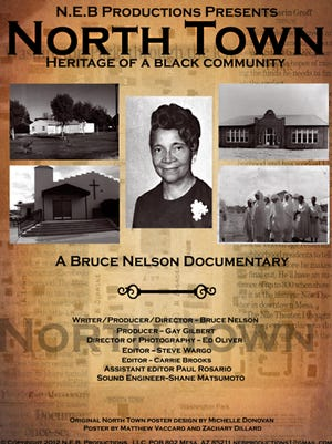 A poster with early views of North Town announces the documentary produced by local filmmaker Bruce Nelson.