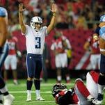 Titans kicker Maikon Bonani celebrates his 51- yard field goal against the Falcons last week.