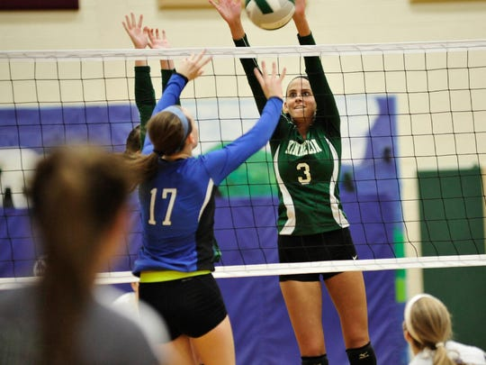 Maya Erdenberger (3) and the Kinnelon girls' volleyball team have won six-straight games, including two Group 1 state playoff matchups heading into this weekend's quarterfinal round.