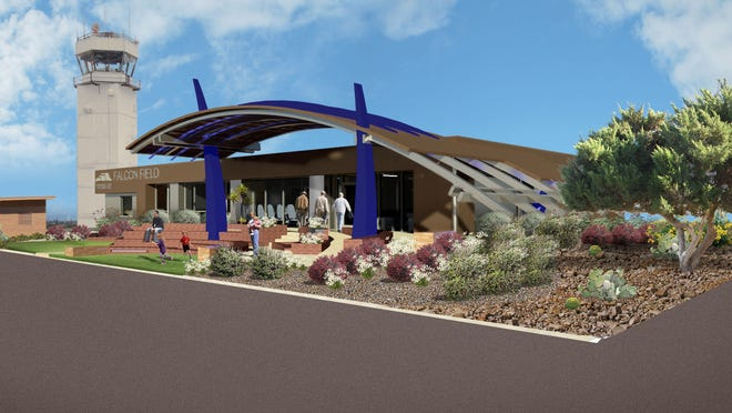 A rendering of Falcon Field Airport's renovated terminal.