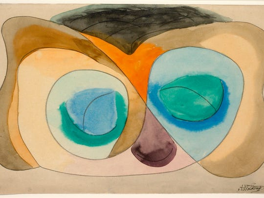 """Abraham Walkowitz's 1912 watercolor painting """"Abstract Head"""" is part of Baker Art Museum's """"100 Years of American Abstraction"""" exhibit."""