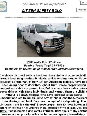 The Gulf Breeze Police Department is looking for this van.