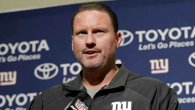 New York Giants head coach Ben McAdoo speaks at a news conference after an NFL football game between the San Francisco 49ers and the Giants in Santa Clara, Calif., Sunday, Nov. 12, 2017.