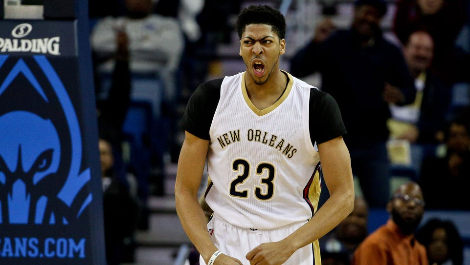 New Orleans Pelicans forward Anthony Davis reacts after