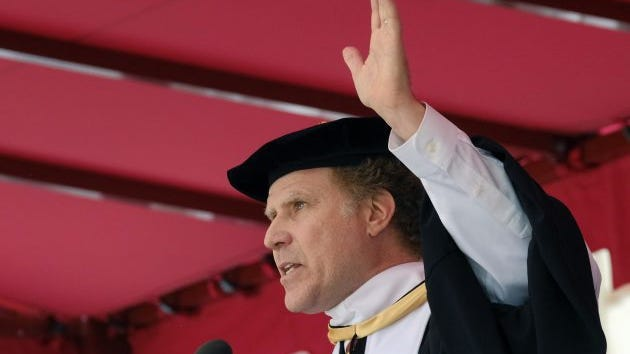 Actor Will Ferrell gestures as he speaks at the University of Southern California's Class of 2017 commencement ceremony in Los Angeles. Oprah Winfrey told students to live with purpose. President Donald Trump said to ignore the naysayers. Will Ferrell sang some Whitney Houston. Those are a few of the speakers who have taken the stage at college graduation ceremonies this month to share their wisdom, joining a wide range of others in entertainment, politics and business. In their efforts to inspire the Class of 2017, they've elicited both laughter and tears and, in some cases, jeers.